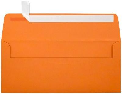 #10 Square Flap Envelopes w/Peel & Press (4 1/8 x 9 1/2) - Mandarin Orange (50 Qty.)   Business   For Checks, Invoices, Letters & Mailings   Printable   80lb Text Paper   EX4860-11-50