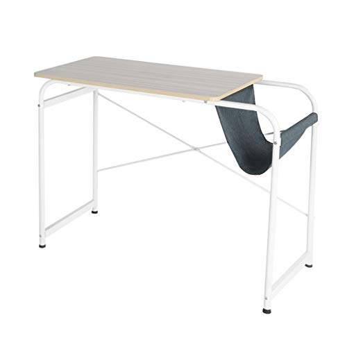 Pollyhb Home Computer Table Simple Student Desk with Bag Storage Desktop Laptop Office Writing Desk (White)
