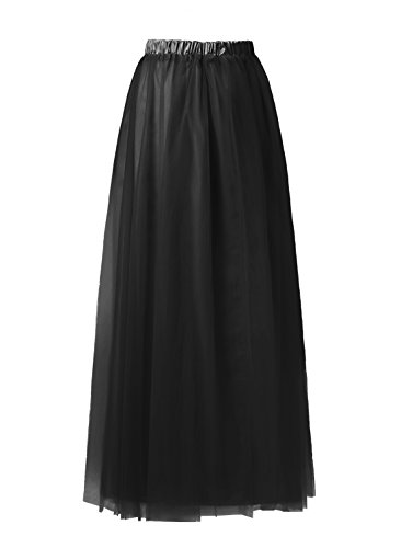 Emondora Tutu Tulle A-Line Floor Length Skirt Women Prom Evening Gown Dress Up Black Size XXL (Masked Ball Outfit)
