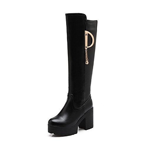 Allhqfashion Women's Round Closed Toe High-Heels Blend Materials Solid Knee-high Boots Black BzP7Zeds8