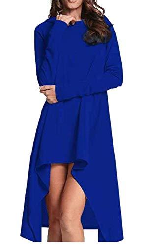 Dress Irregular Fashion Sleeve QianQian AU Women's Hoodie Pullover Blue Top Long Hem fvxIpqxw