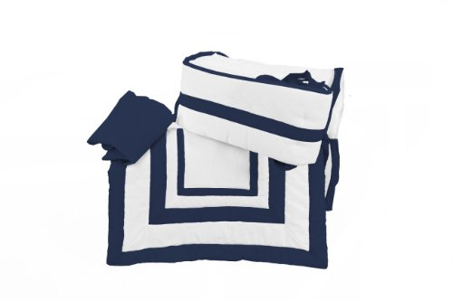 White Cradle Bedding - Baby Doll Bedding Modern Hotel Style Cradle Bedding set, Navy