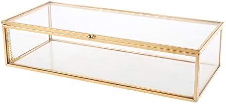 YoungerY Golden Vintage Glas Deckel Box Edge Armband Andenken dekorative Schmuck Display personalisierte große klare Rechteck Box Ringe Armband Golden Organizer Home Decor