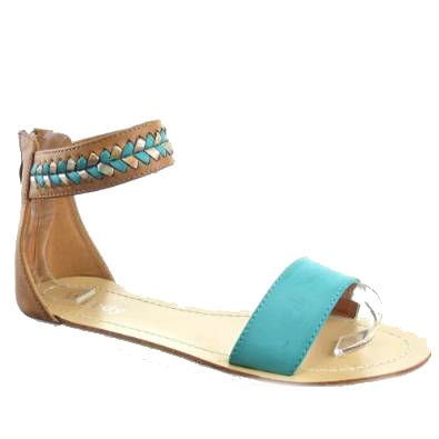 Kickly–Schuh Modus Sandale Tong Stepptanz Knöchel Frauen Flashy–Innen Leder–Blau/Gold