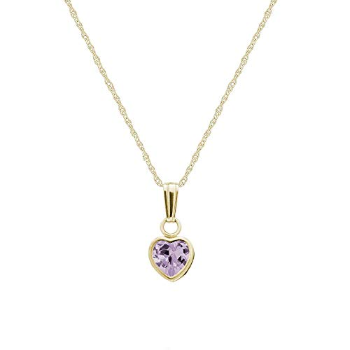 Little Girl's 14K Yellow Gold Simulated June Birthstone Heart Pendant Necklace (13 in) ()