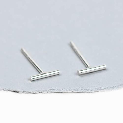 (Small 6mm Sterling Silver Line Bar Stud Earrings)