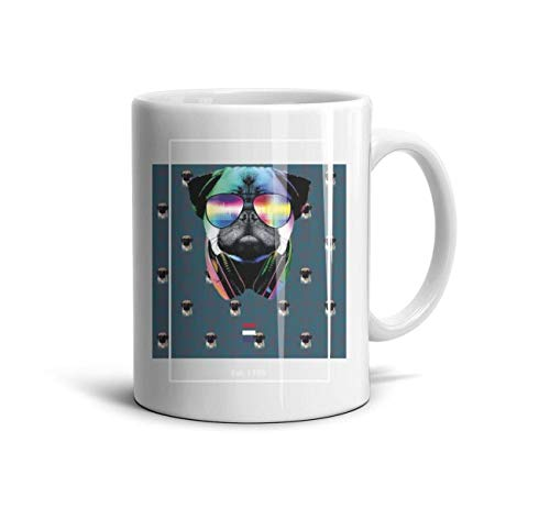 LOUTRTDF Est. 1776 Independence Day Pug Mans and Womens 11oz Coffee Mugs Motivational Birthday Cup