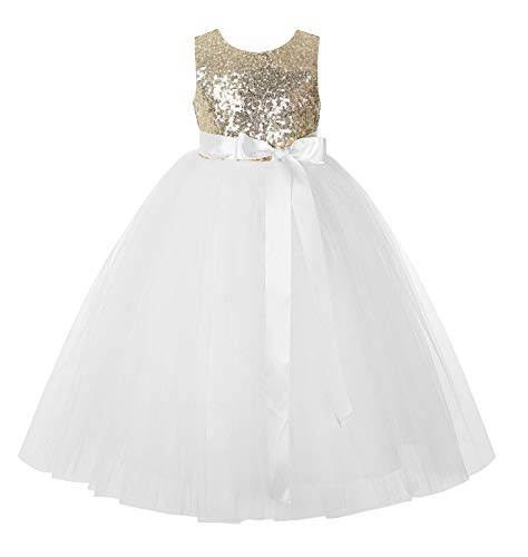 ekidsbridal Heart Cutout Sequin Flower Girl Dress Formal Special Occasion Dresses 172seq 3 Gold/Ivory ()