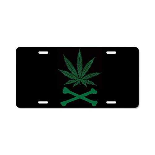 GRAETfpeoglsd Abstract License Plate Cannabis Skull.Png High Gloss Aluminum Novelty Car Licence Plate Cover Auto Tag Holder 12inch; x 6inch;