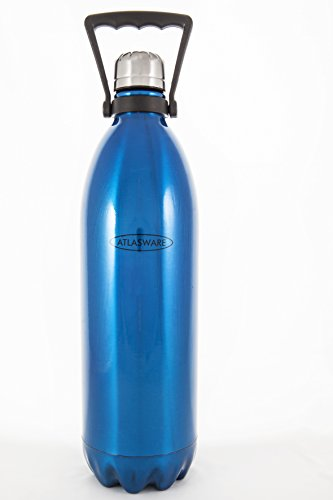 Water Bottle Stainless Steel. ATLASWARE Thermoses/Flask. Double Wall Vacuum Insulated, Wide Mouth. Blue ,68 oz (2 liter), Double Wall Vacuum. Thermos Techology (Sold as Singles) by Atlasware