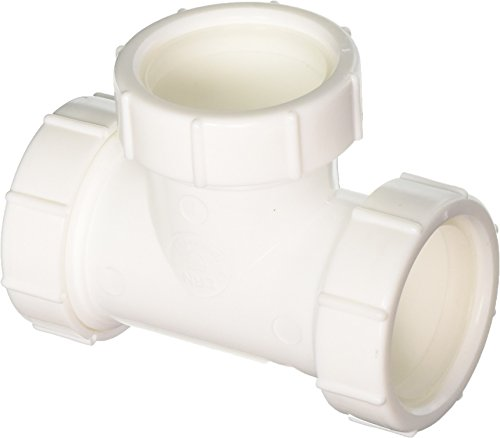 (Eastman 35337 Polypropylene Slip Joint Connection 3-Way Tee Fitting Coupling Connector with Washer for Tubular Drain Applications, White,)