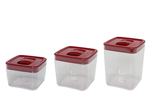 Click Clack Cube Storage Containers with Lids Capacity, 1.0, 2.0 and 3-1/2-Quart, Red, Set of 3 (Click Clack Canister)