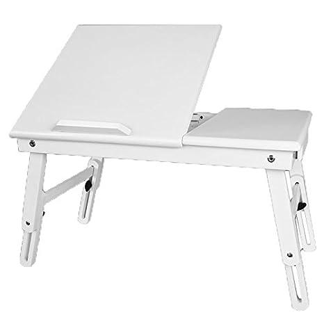 SoBuy® Mesita de Cama, Mesa para el Ordenador portátil, Mesa Plegable de Madera,Blanco, FBT02-W,ES: Amazon.es: Hogar
