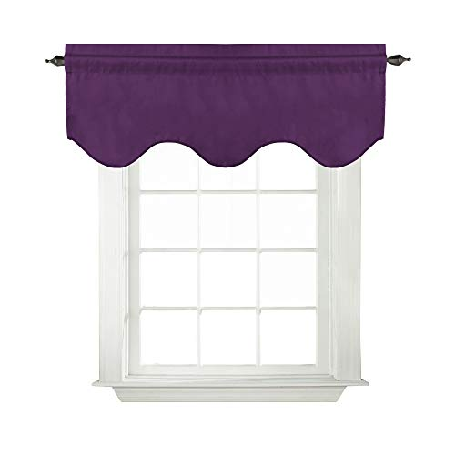 Turquoize Solid Blackout Valance, Short Curtains, Scalloped Window Treatment, Plum Purple, 52-inch by 18-inch, 1 Panel (Purple Valance Curtains)