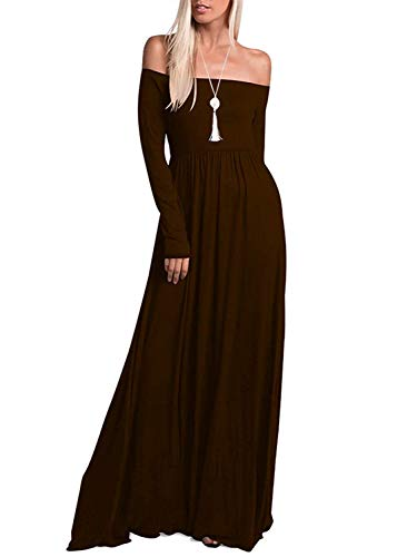 Brown Dress Bridesmaid - Amoretu Womens Casual Off The Shoulder Long Sleeve Maxi Dress with Pockets Brown M