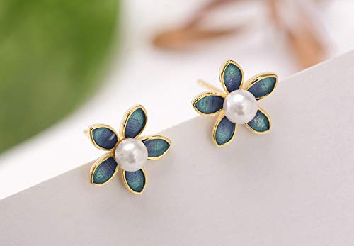 2018 S925 Sterling Silver Stud Earrings Matte Epoxy Enameled Little Flower White Pearl for Women Girls Gift Post Earring (as - Enameled Stud