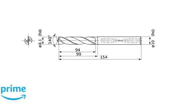 1.5 mm Point Length Mitsubishi Materials MVS0810X08S100 MVS Series Solid Carbide Drill Internal Coolant 10 mm Shank Dia. 8.1 mm Cutting Dia 8 mm Hole Depth