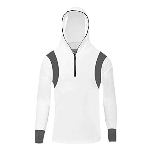 JustWin Men's Fitness Fishing Suit Hooded Top Long Sleeves Solid Color Sport Running Tops White