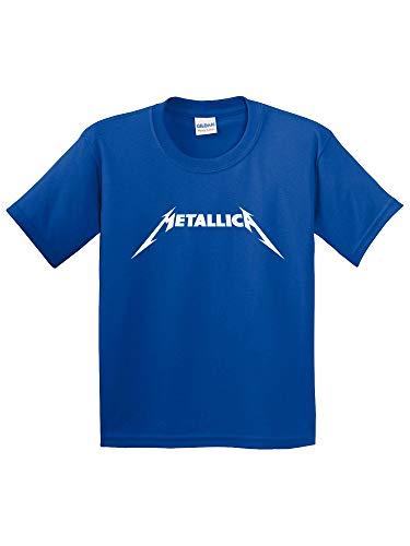 Trendy USA 925 - Youth T-Shirt Metallica Metal Rock Band Logo Small Royal Blue