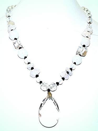 (Snow Quartz & White Agate Natural Gemstone & Glass 19.5
