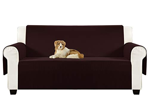 Aidear Anti-Slip Sofa Slipcovers Jacquard Fabric Pet Dog Couch Covers Protectors (Loveseat, Dark Brown) - Brown Fabric Seat