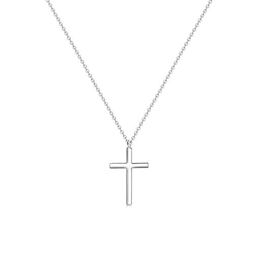 - MOMOL Tiny Cross Pendant Necklace, 18K Gold Plated Stainless Steel Cross Necklace Simple Small Dainty Cross Pendant Christian Religious Chain Necklace for Women Girls (1)