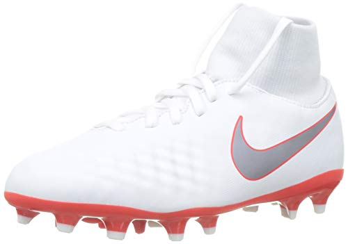 Nike JR Obra 2 Academy DF Firm Ground Cleat (5.5 M US Big Kid) White/Grey (Magista Nike Soccer Cleats)