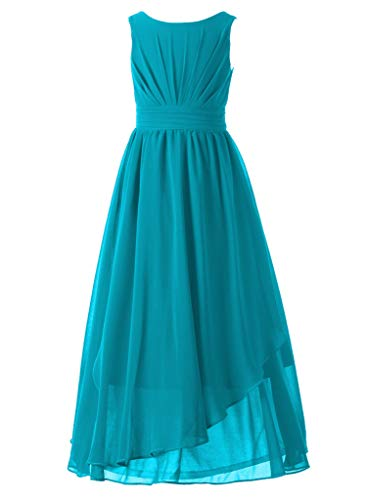 Happy Rose 7-16 Chiffon Girls Junior Bridesmaid Dress Peacock Blue 10