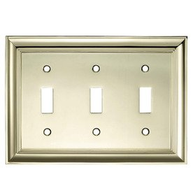 Allen + Roth Polished Brass Decorator Triple Toggle Metal Wall Plate (Allen Roth Covers)