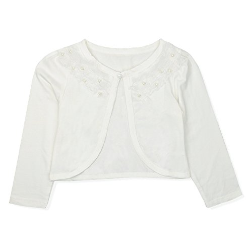 Beaded Cropped Cardigan - CHICTRY Little Girls' Long Sleeve Beaded Lace Bolero Cardigan Flower Girl Shrug Dress Cover Up Lace Ivory 3-4