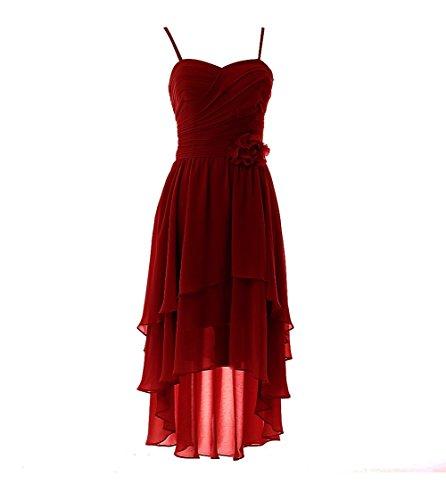 YiYaDawn Vokuhila Kleid Cocktailkleid Brautjungfernkleid mit Blume für Damen Größe Maßanfertigung EU Weinrot