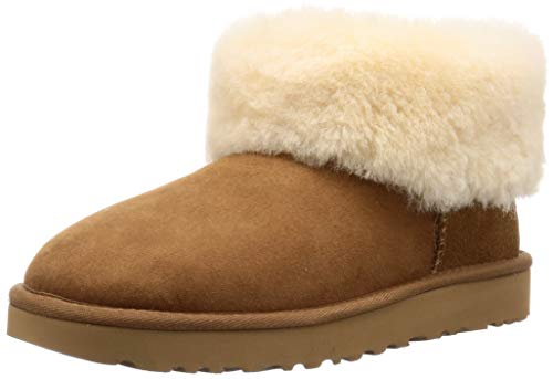 UGG Women's Classic Mini Fluff Ankle Boot, Chestnut, 12 M US