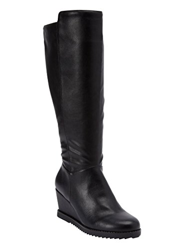 Comfortview Women's Wide Rockwell Tall Calf Boot Black,8 1/2 (Leather Wedge Boot)