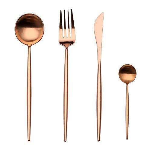 Flatware Cutlery Set, Morgiana 4-Piece Stainless Steel Flatware Sets Including Fork Spoons Knife Tableware Serving Set for Home,Hotel,Restaurant (Rose Golden) (Flatware World Tableware)