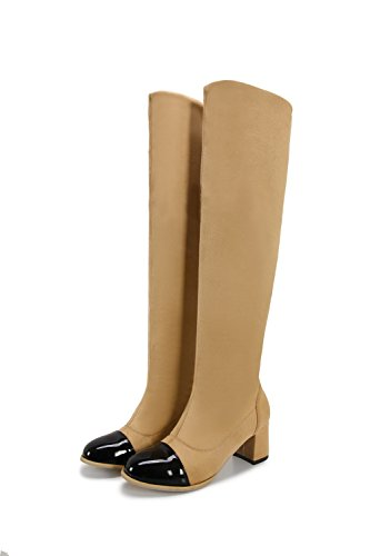 BalaMasa Girls Chunky Heels Color Matching Thick Bottom Heel Frosted Boots Apricot 2ZrYwPc