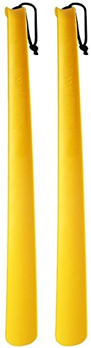 RMS 2 Pack Extra Long Handled Shoe Horn with Curved Handle and Hang Up Strap (24 inches)