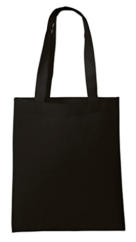 BagzDepot Non-Woven Promotional Budget Friendly Wholesale Tote Bags (50, Black)
