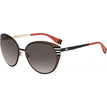 ca22abd5b7f Amazon.com  Fendi 0017S 7ROHA Brown Black and Gold 0017S Round Sunglasses  Lens Category 3  Clothing