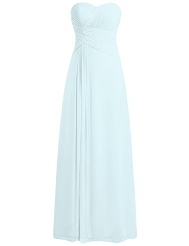 JAEDEN Bridesmaid Dress Prom Dresses Long Sweetheart Chiffon Evening Gown Pleat Strapless Ice Blue S