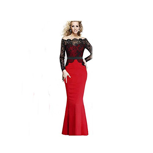 Valawy Women's Vintage Lace Long sleeve Bridesmaid Coclktail Formal Maxi Dress (M, Red) - Bridesmaid Womens Long Sleeve