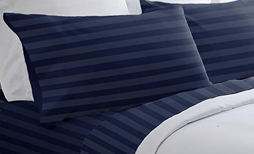 - Blue Ridge Home Fashions, Inc. 300 Thread Count Cotton Cabana Stripe Twin in Navy Color Sheet Sets,
