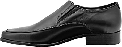 Black Slip On Shoes Leather Sole Loafers Wizfort Mens Dress Shoes Dress