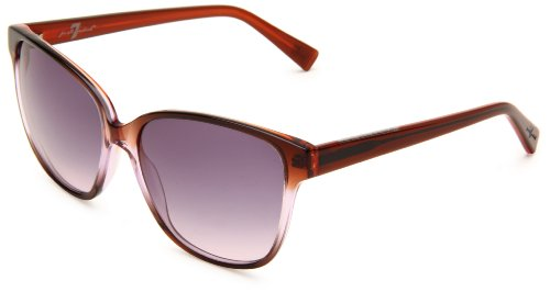 7 For All Mankind Alameda Rectangle Sunglasses,Purple Gradient Frame/Blue & Purple Lens,One - Seven All Glasses Mankind For