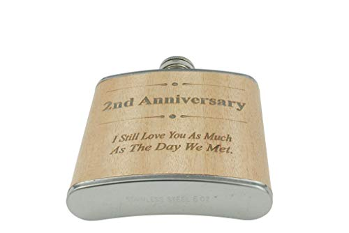 2nd Anniversary Hip Flask 2 Year Anniversary Gift For Him