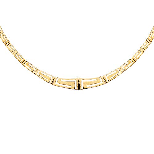 - 14k Yellow Gold Graduated Greek Key Link Necklace, 17 Inches