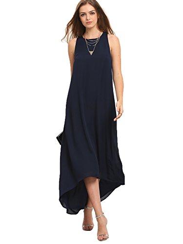 Milumia Women's Crew Neck Sleeveless Asymmectric High Low Maxi Dress (Large, (Crew Neck Sleeveless Women Dress)