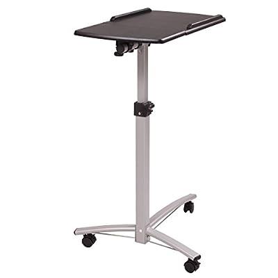 LAZYMOON Adjustable Mobile Laptop Desk Home Office Table Cart, Black