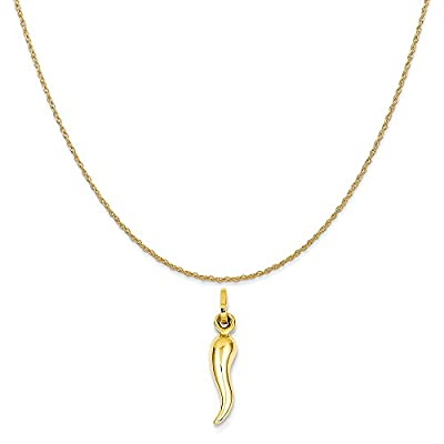 "14k Yellow Gold Hollow Italian Horn Charm on 14K Yellow Gold Rope Chain Necklace, 16""-20"" by QG"