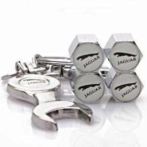 NEW Jaguar Tire Valve Caps set of 4 with Bonus Wrench Keychain Key Ring - White by 8seasons