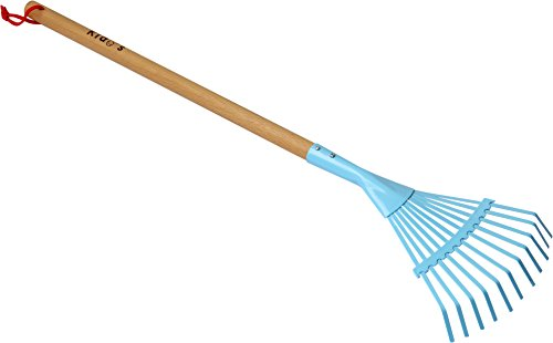 Worth Garden Metal Leaf Rake with Wooden Handle, for Children Junior Outdoor Gardening Practice by Worth